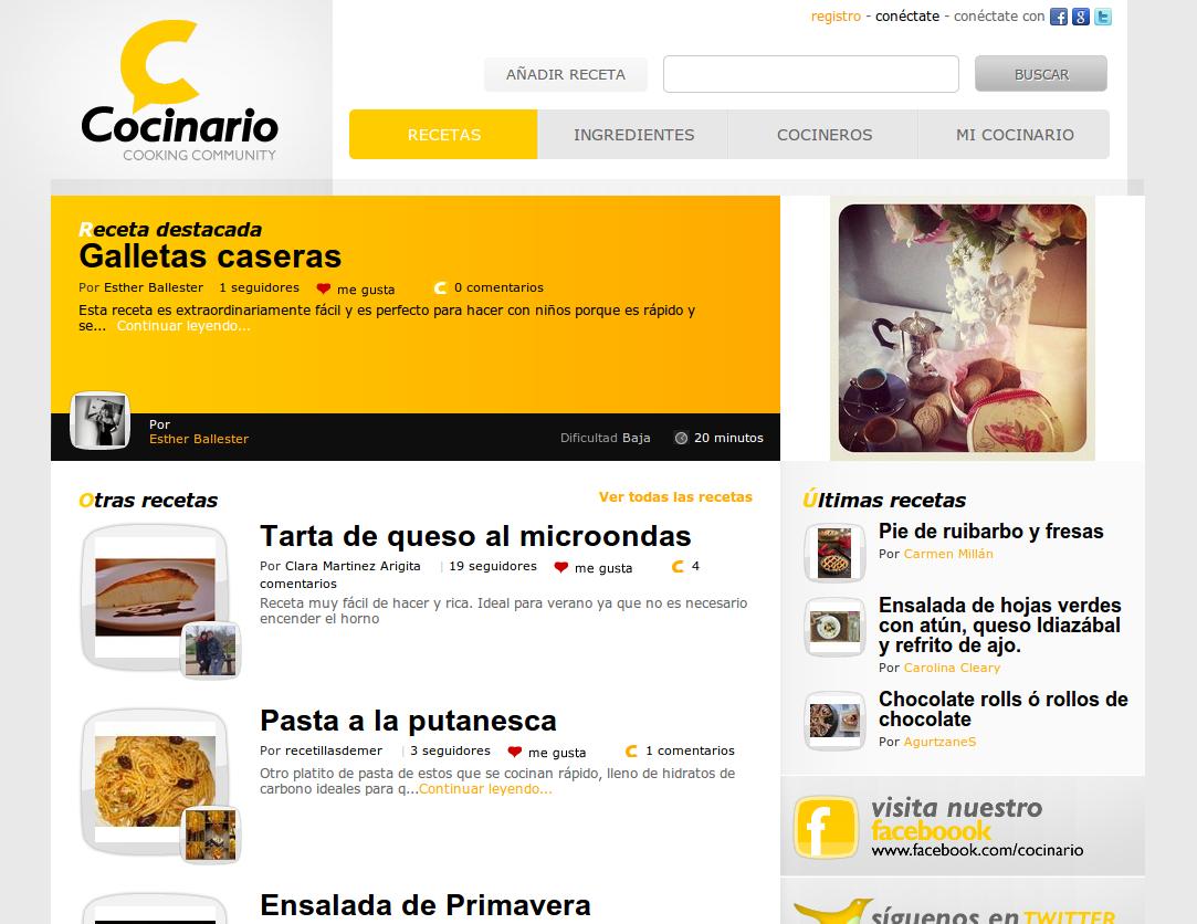 Cocinario – Nueva red social de cocina en español, programada desde cero