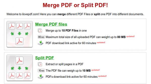 Transformando PDF en doc, ppt o xls, dividiendo páginas