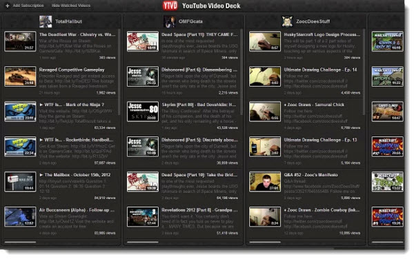 YouTube Video Deck