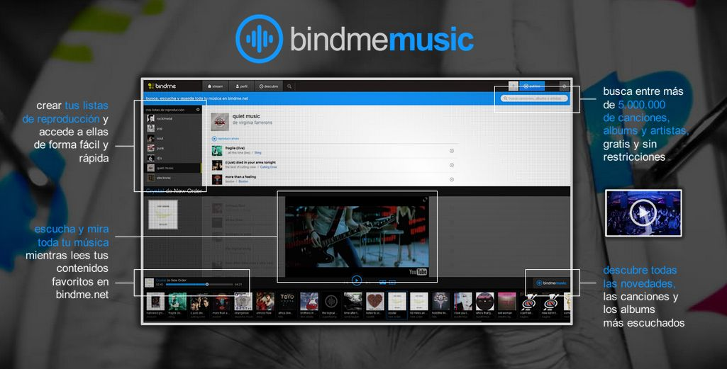 Bindme ya permite escuchar gratis, y sin publicidad, más de 5 millones de canciones por Internet