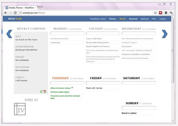 Weekplan, un gestor de tareas con objetivos semanales