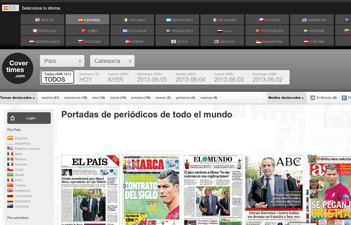 Nuevo Covertimes, la web que nos muestra portadas de la prensa de todo el mundo