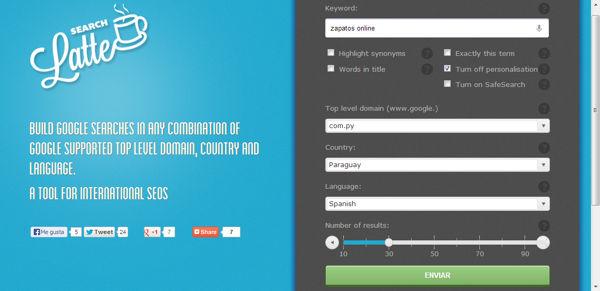 Search Latte, revisa la posición de tu web en el Google de diferentes