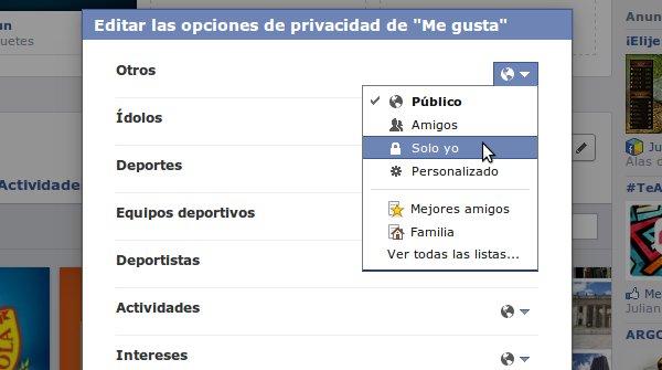 opciones privacidad