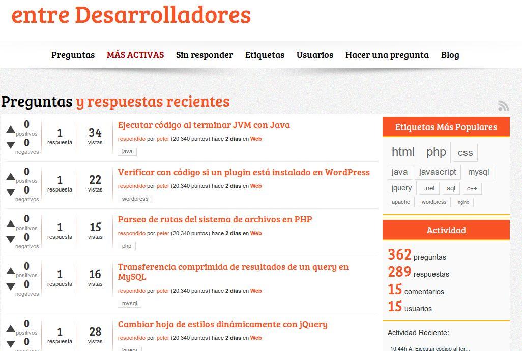 Nueva web de preguntas y respuestas de programación, en español
