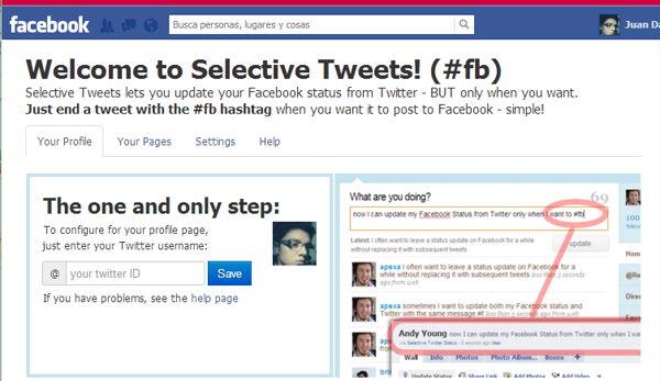 selective tweets facebook