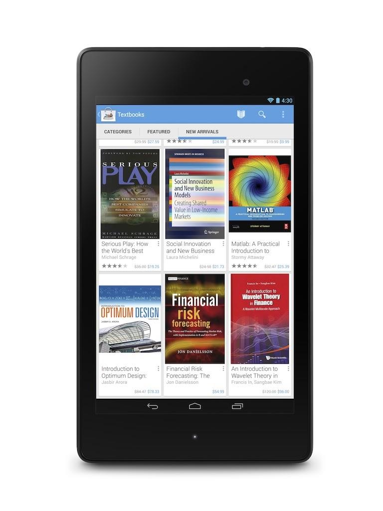 Google Play añade libros de textos digitales para la venta y alquiler