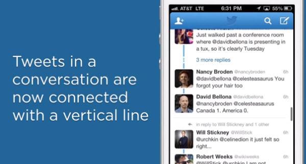 Twitter的更新按时间顺序组织谈话