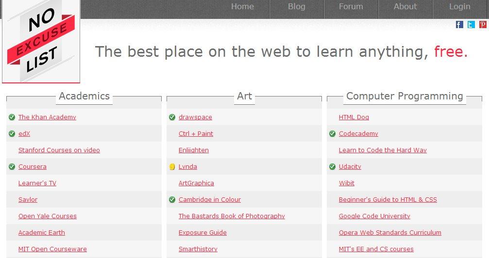 No Excuse List, para acceder a varios cursos online en Internet