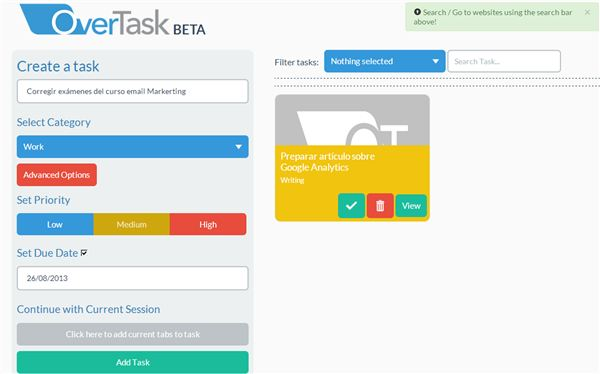 OverTask – Gestión de tareas para evitar muchas pestañas abiertas en Chrome