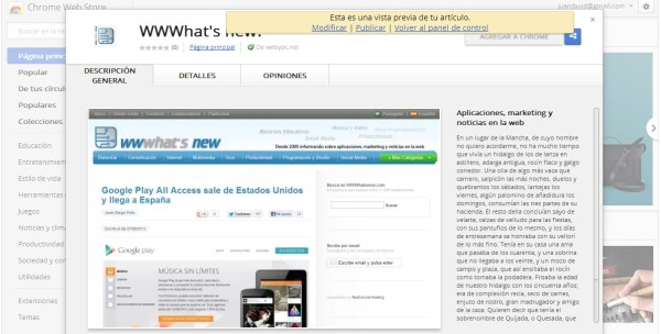 vista previa chrome webapp