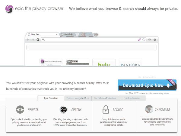 史诗,基于Chromium的浏览器,它关心的隐私,包括代理