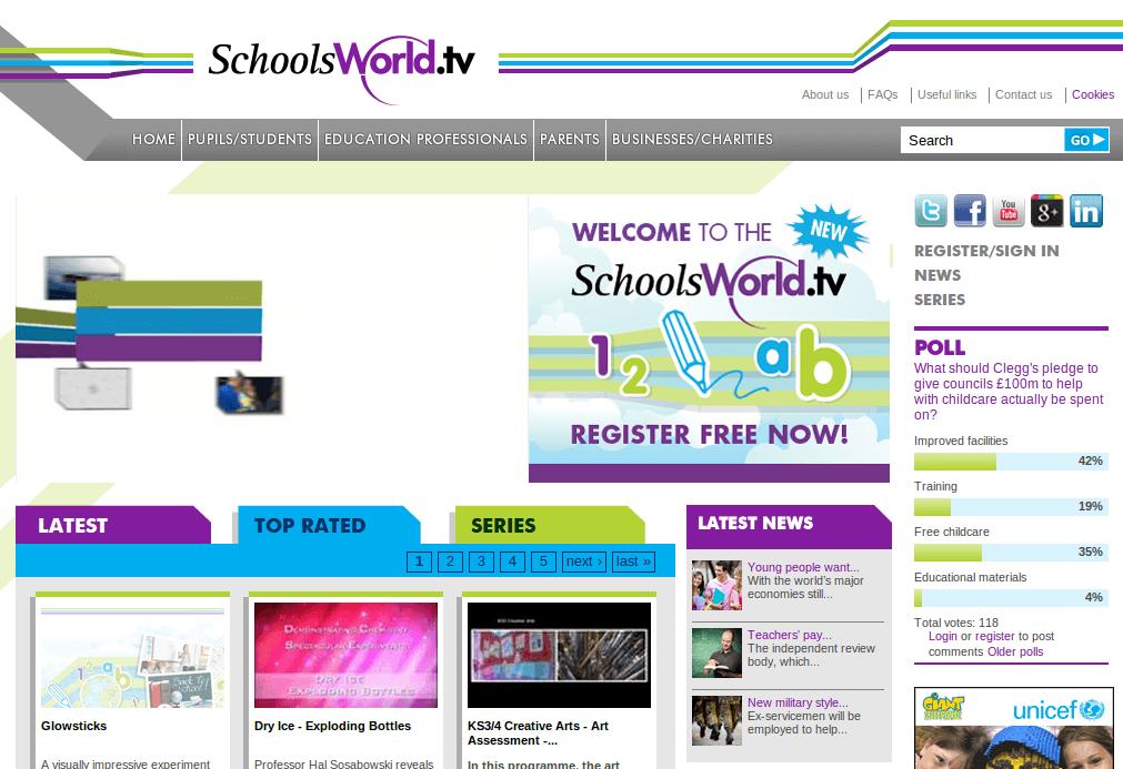 schoolsworld, cientos de vídeos educativos clasificados por nivel y por materia