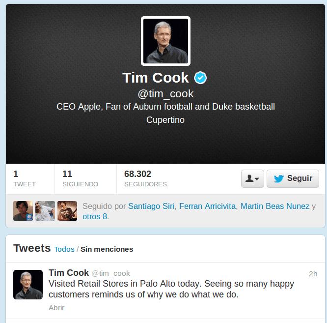 Tim Cook, CEO de Apple, abre cuenta en Twitter (analizamos a sus primeros seguidores)