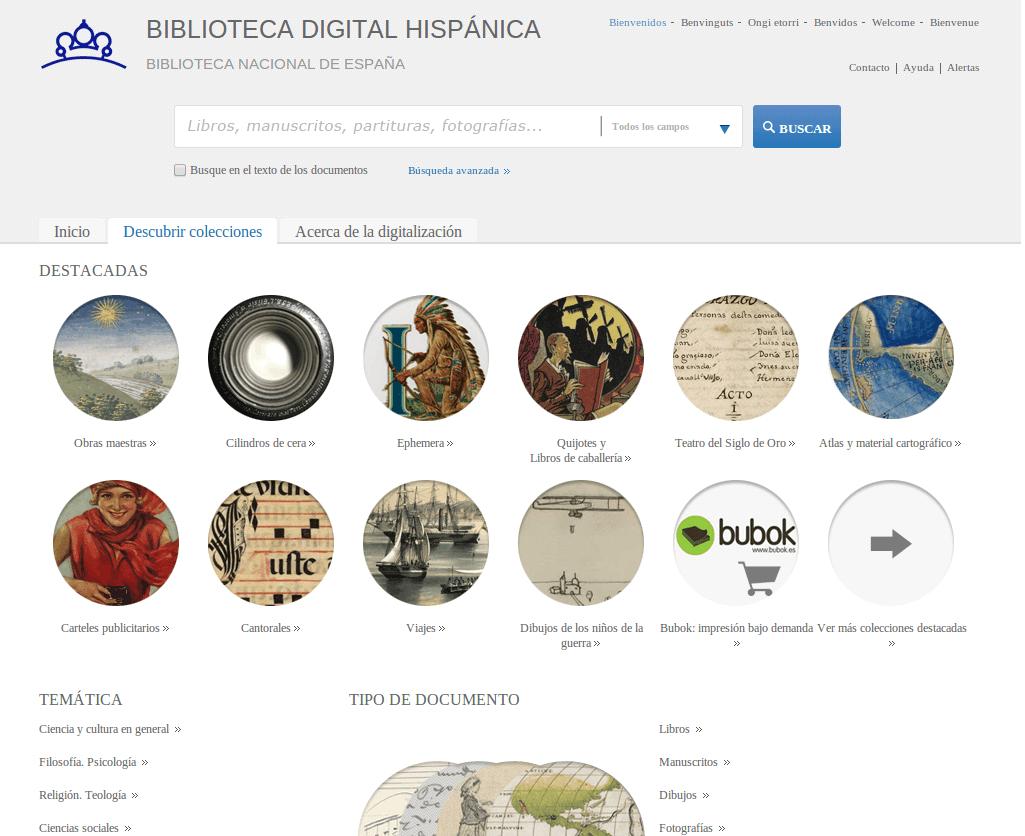 Biblioteca digital hispánica – miles de libros, manuscritos, mapas y demás documentos históricos