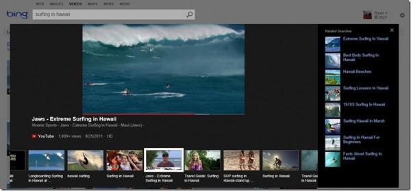 Buscador de vídeos de Bing el el Reino Unido