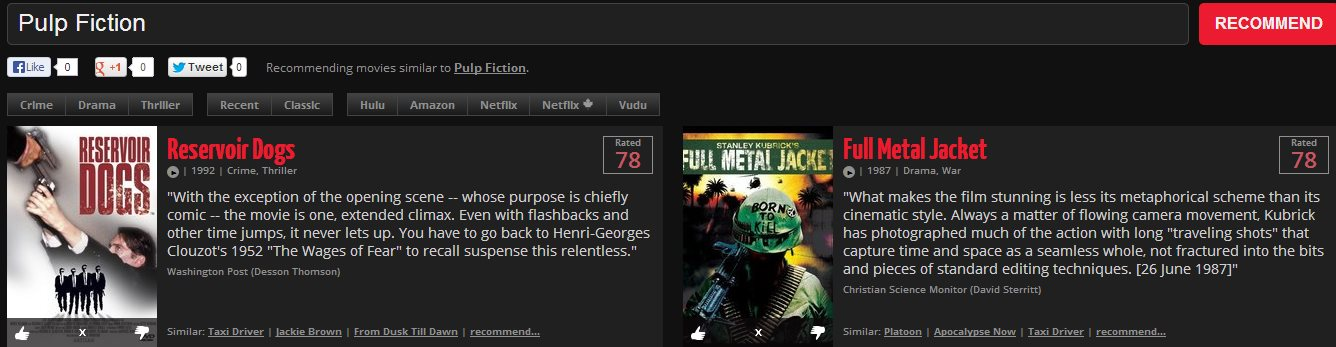 Movievisor, recomendaciones de películas basadas en las que más nos gustan