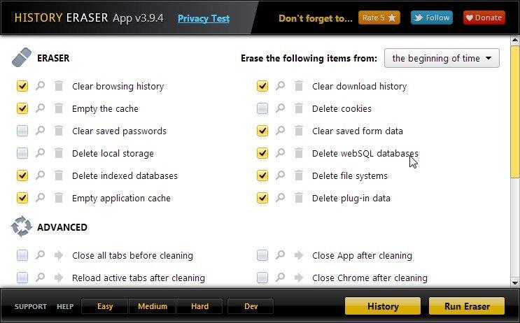 History Eraser App, un limpiador de historiales y datos privados para Chrome