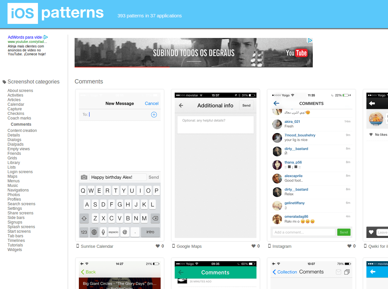 Ejemplos de diseños de aplicaciones móviles (comentarios, búsquedas, listas, mapas…)