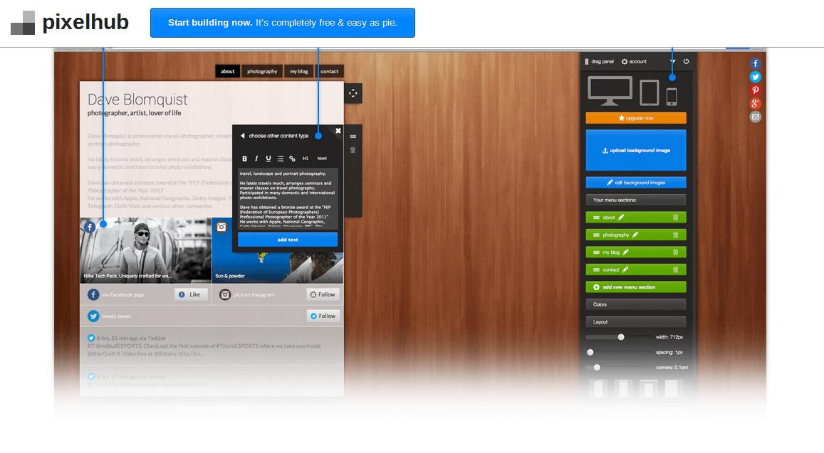 .pixelhub – la evolución de dooid, para crear páginas con nuestro perfil y el contenido de redes sociales