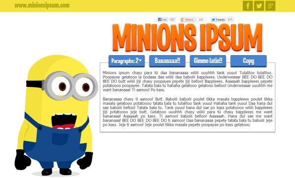 Minions ipsum, generador de texto en el idioma de los minions de Mi villano favorito