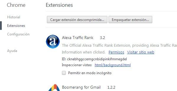 seccion extensiones google chrome