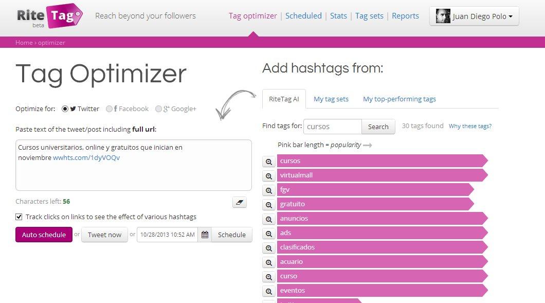 RiteTag nos ayuda a optimizar las etiquetas (hashtags) de nuestros tweets