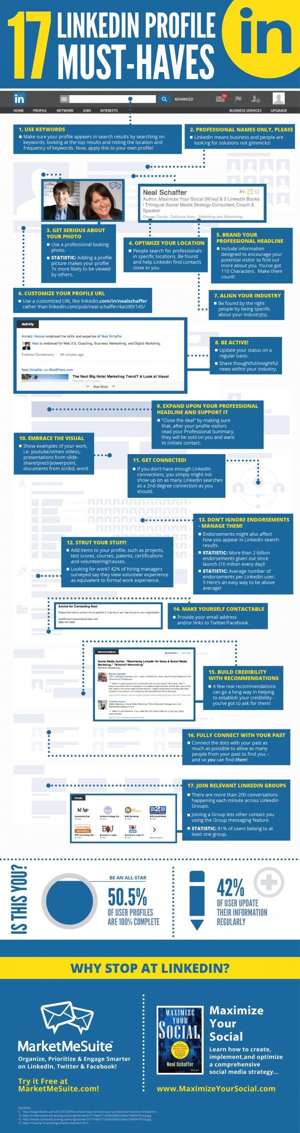 17 consejos para optimizar tu perfil de Linkedin [Infografía]