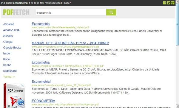 PDFfetch, buscador de archivos en PDF, libros digitales y otras publicaciones