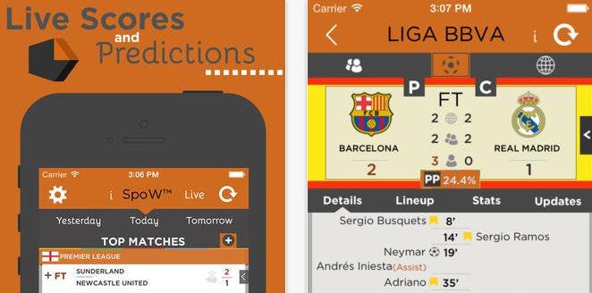 SpoW, predice los resultados de partidos de fútbol en iOS