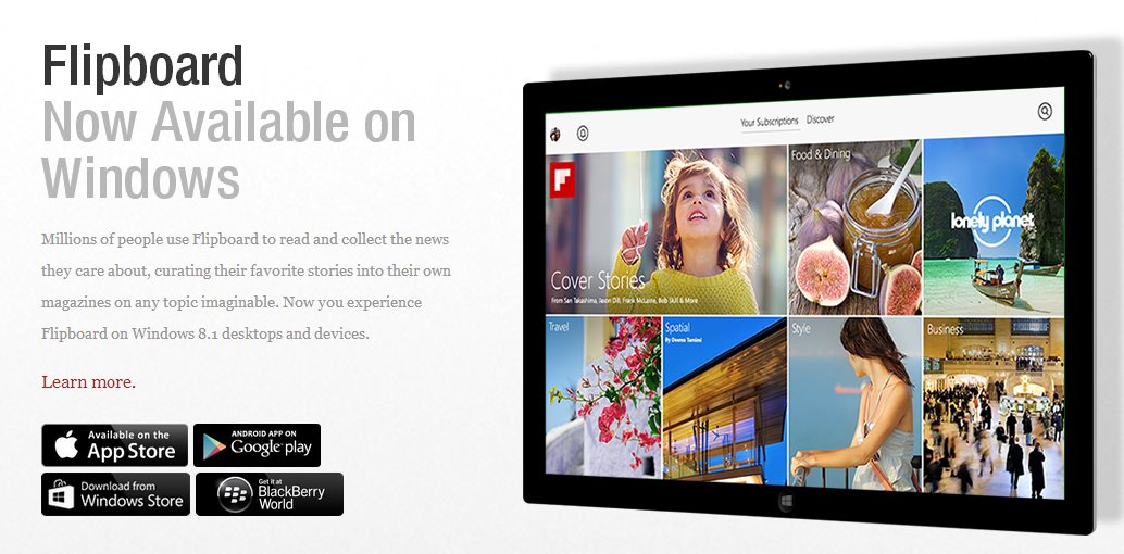 Flipboard lanza versión para Windows 8