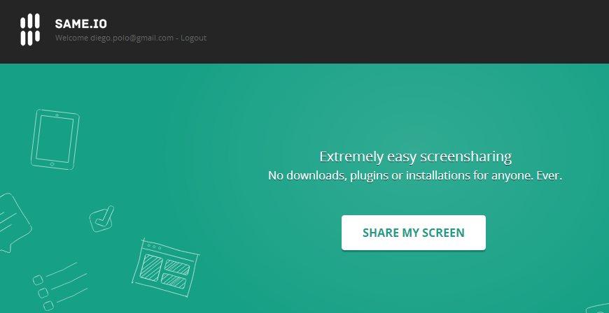 same.io, compartiendo nuestra pantalla sin plugins, sin Java y sin programas externos