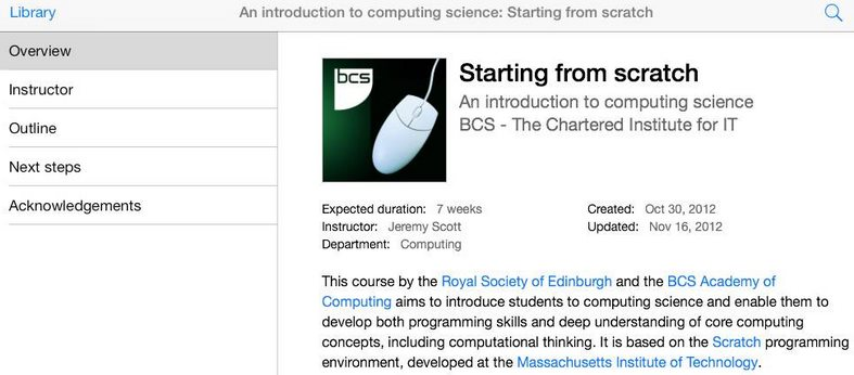 Curso gratuito de Introducción a la Programación, de la Royal Society of Edinburgh [iTunes]