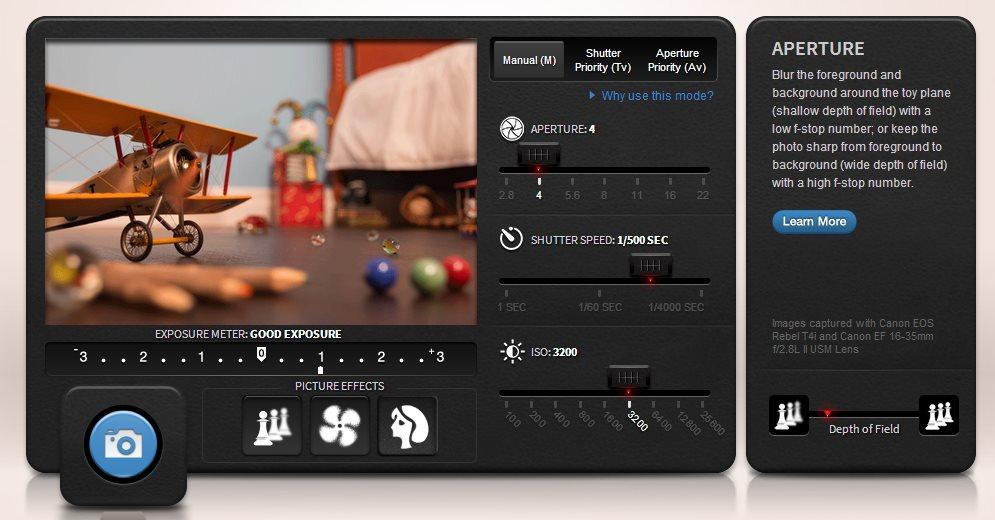 Simulador de fotografía online, creado por Canon
