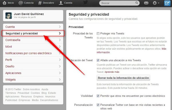 twitter privacidad