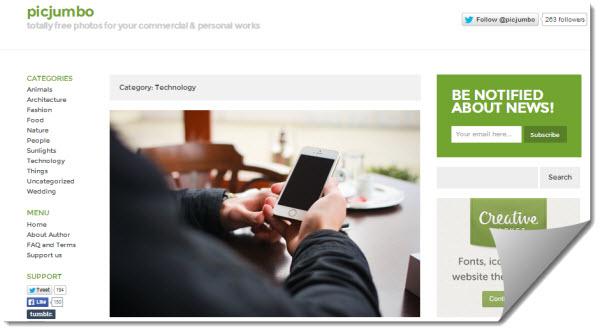 Picjumbo, imágenes gratuitas para uso personal y comercial