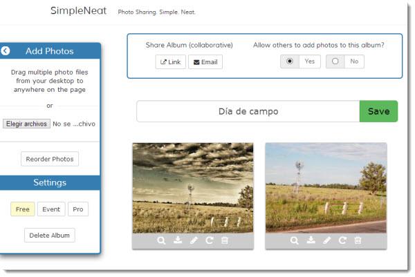 SimpleNeat, una manera simple de crear álbumes de fotos colaborativos