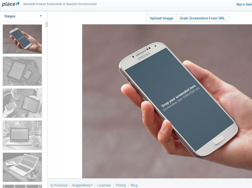 placeit, para crear imágenes de productos mostrados en diferentes dispositivos