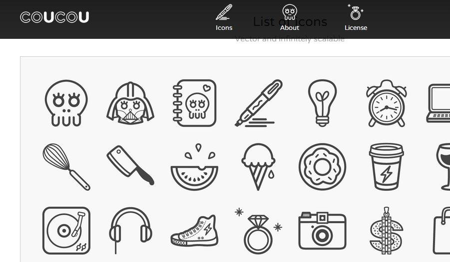 Coucou Icons, decenas de iconos vectoriales para uso gratuito en nuestros proyectos