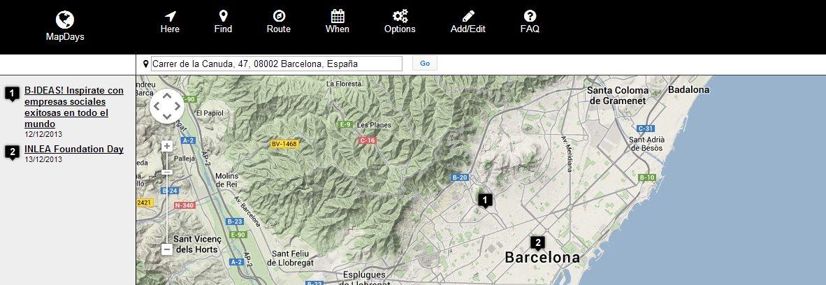 MapDays, encontrando eventos cercanos en los que pasar el día