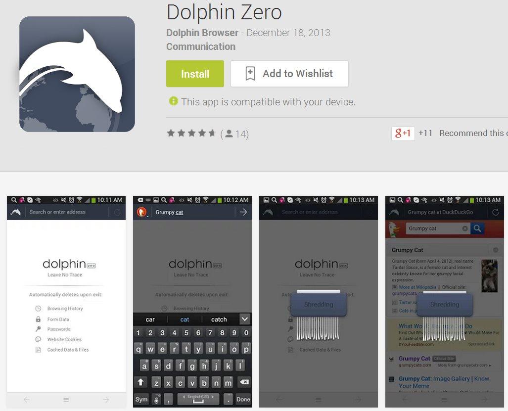 Dolphin Zero, un navegador para Android que no deja rastro