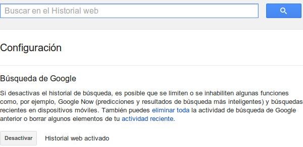 2 desactivar historial google