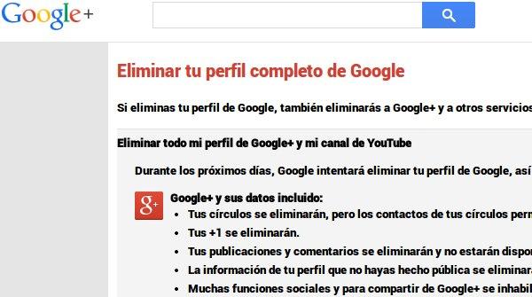 eliminar google plus