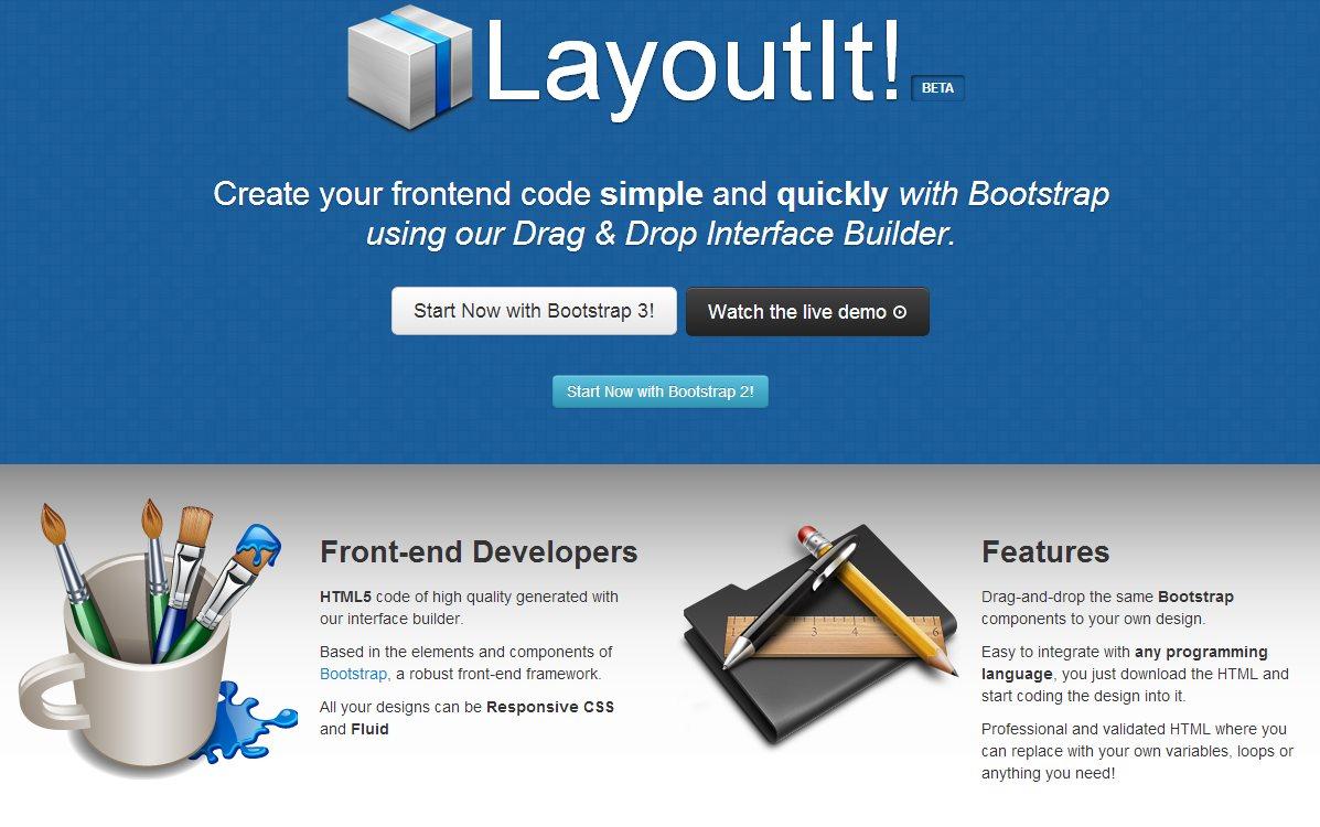 layoutit, para crear webs adaptables arrastrando y soltando elementos