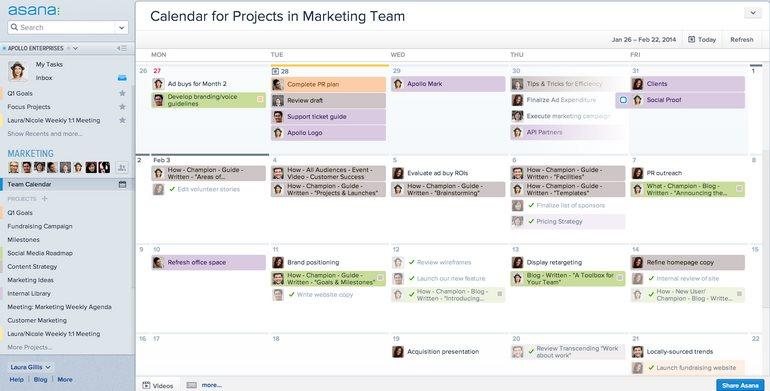 Asana, la herramienta de gestión de proyectos, presenta calendarios para trabajo en grupo