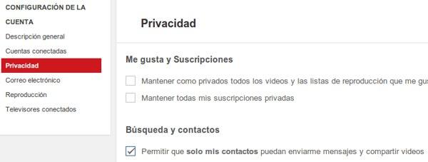 youtube privacidad