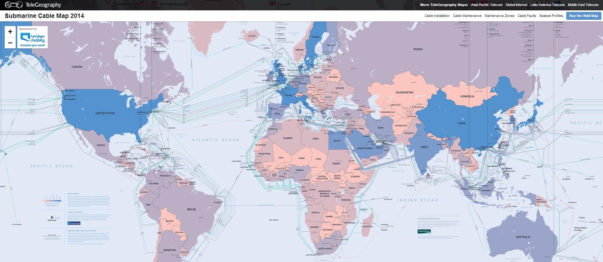 Mapa con los cables submarinos que nos conectan a Internet