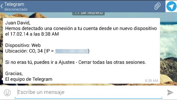 telegram notificacion conexion externa