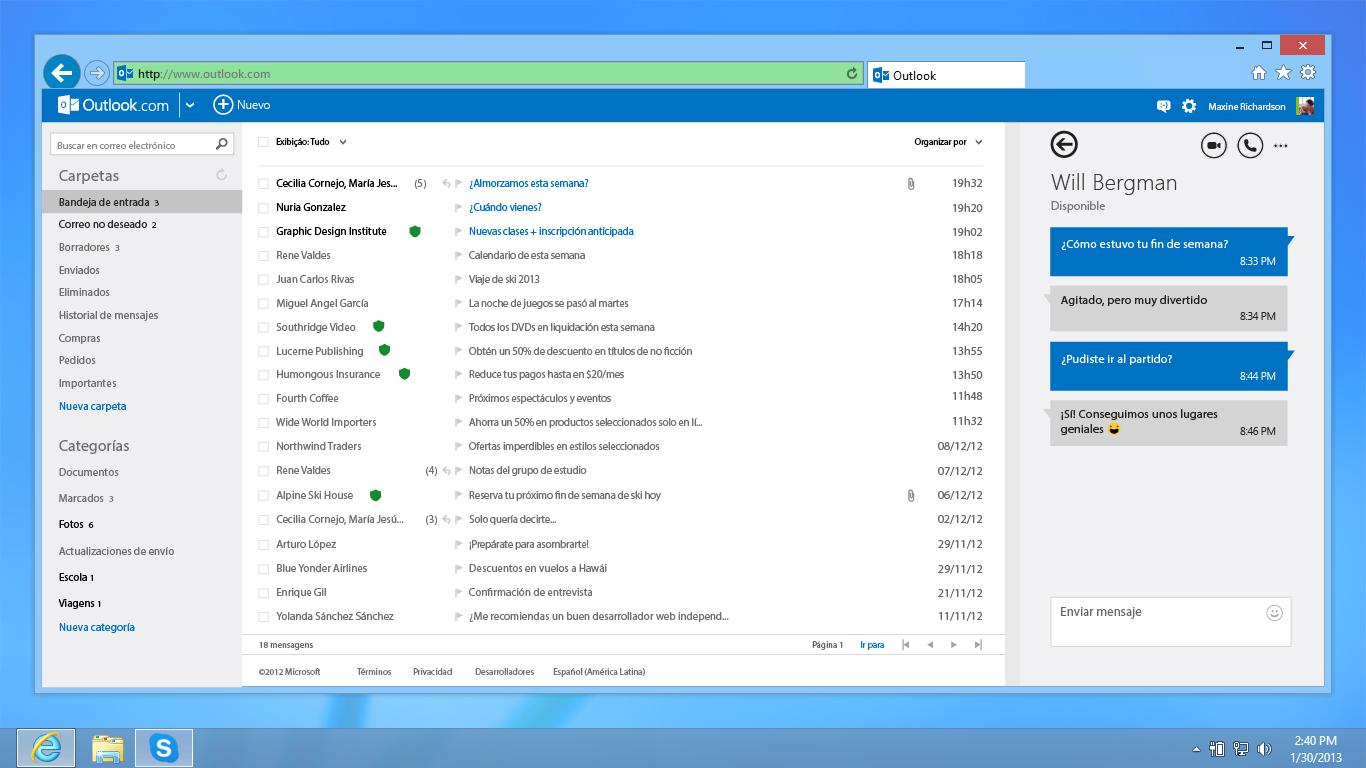Skype se integra con Outlook.com en todo el mundo