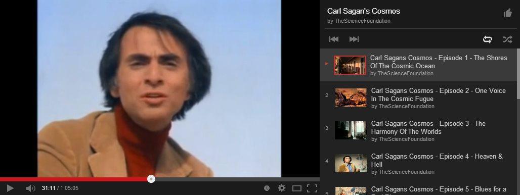 La serie completa de Cosmos, de Carl Sagan, en Youtube